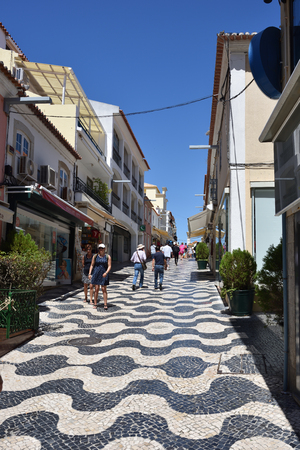 CASCAIS PORTUGAL - JUNE 7, 2017: Street with in Cascais. Cascais is famous and popular summer vacation spot for Portuguese and foreign tourists