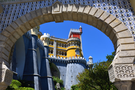 Sintra, Portugal - June 06, 2017: Tourists visit the Pena National Palace. The most popular tourist attraction in whole Portugal