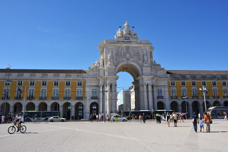 Lisbon Portugal - June 11, 2017: Augusta Street Triumphal Arch in the Commerce Square Praca do Comercio or Terreiro do Paco in Lisbon Portugal