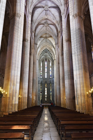 Interior of the Monastery of Batalha is a Dominican convent in the civil parish of Batalha, Portugal. Originally known as the Monastery of Saint Mary of the Victory Editorial