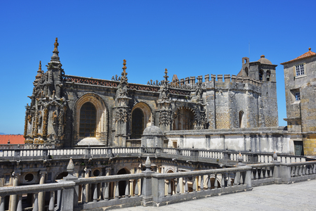 Top of Dom Joao III Cloister (Renaissance masterpiece) in the Templar Convent of Christ in Tomar, Portugal. UNESCO World Heritage