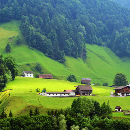 Beautiful view of idyllic mountain scenery in the Alps with traditional chalets and farm in green alpine meadows in Uri canton nearby Altdorf city, Switzerland