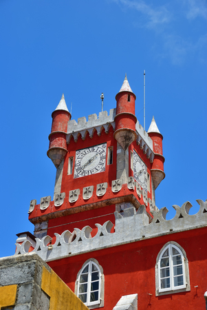 Sintra, Portugal - June 06, 2017: Clock tower inside of Pena National Palace in Sintra in Portugal.