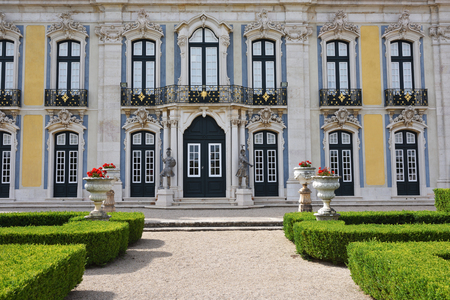 Queluz, Portugal - June 3, 2017: The entrance and facade of the Queluz Royal Palace. Formerly used as the Summer residence by the Portuguese royal family