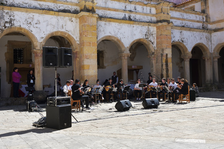 symphonic: Tomar, Portugal - June 4, 2017: Amateur concert of symphonic music in Dom Joao III Cloister (Renaissance masterpiece) in the Templar Convent of Christ in Tomar