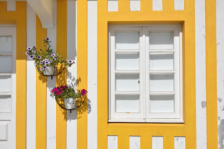 Detail of the house in famous resort Costa Nova on the Atlantic coast in Beira Litoral, Portugal. Closed window and flowers on the yellow and white striped wall