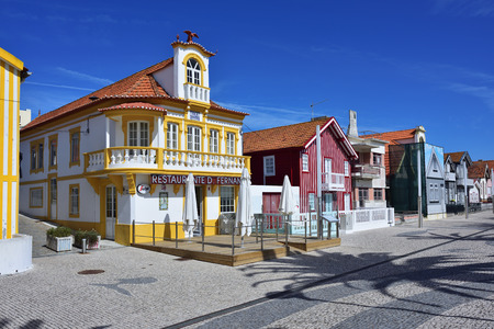 Costa Nova, Portugal - June 09, 2017: Famous resort on the Atlantic coast in Beira Litoral, Portugal. Popular tourist destination to spend vacation time