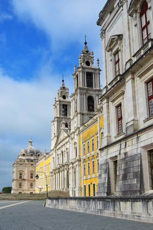 convento: Facade of the Basilica at the Palace of Mafra Portugal a famous royal palace built in the 18th Century Editorial