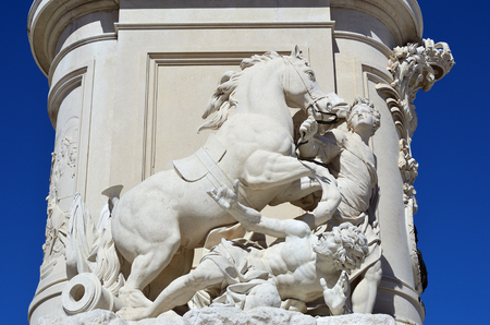 jose: Detail of the equestrian statue of King Jose I on Praca do Comercio (Commerce Square) in Lisbon, Portugal