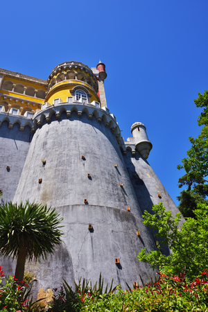 plastered wall: Tower of the Pena National Palace in Sintra, Portugal.