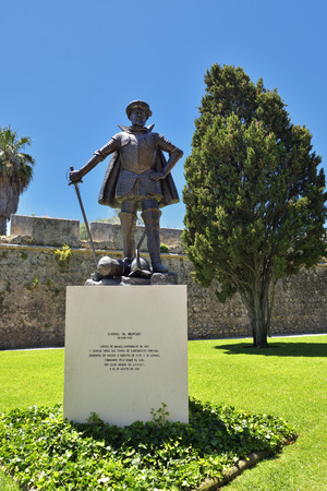 Cascais, Portugal - June 7, 2017: Bronze statue of D.Diogo de Meneses Governor of Portuguese india. Inaugurated in 2010, sculptor Augusto Gil Editorial