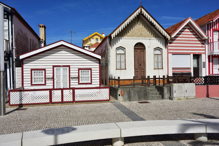 shutter: Costa Nova, Portugal - June 10, 2017: Famous resort on the Atlantic coast in Beira Litoral, Portugal. Popular tourist destination to spend vacation time Editorial