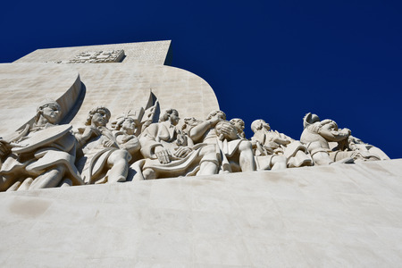 discoverer: Lisbon, Portugal - June 11, 2017: Part of the Monument to the Discoveries (Padrao dos Descobrimentos) at the Tagus river.
