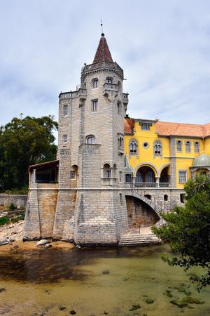 Building of the museum Conde Castro Guimaraes in the pretty gardens of Jardim Marechal Carmona, Cascais, Portugal. Renovated in 1902, was open for public in 1930