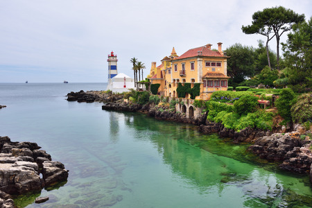 marta: Santa Marta lighthouse and the Casa de Santa Maria in Cascais a Portuguese coastal town 30 km west of Lisbon