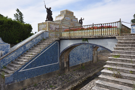 Queluz, Portugal - June 3, 2017: The Tiles Chanel at Queluz National Palace. Tiles panels represent different galant scenes like a hunting, landscape and other Editorial