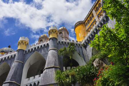 Sintra, Portugal - June 06, 2017: The Pena National Palace. The most popular tourist attraction in whole Portugal
