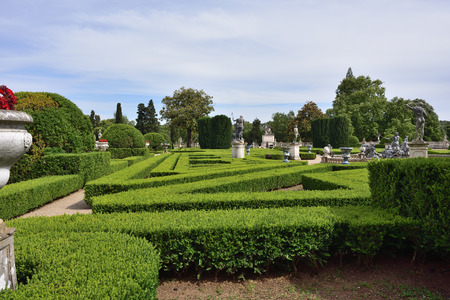 Queluz, Portugal   June 3, 2017: View On The Neptune Garden And Sculptures