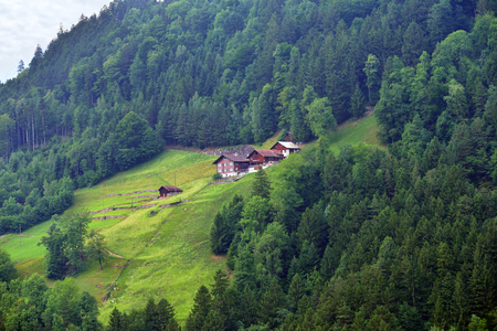 Beautiful view of idyllic mountain scenery in the Alps with traditional chalet in green alpine meadows in Uri canton