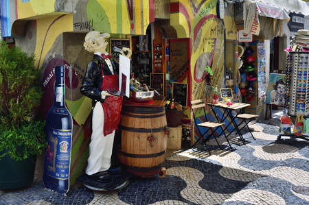 Cascais, Portugal - June 13, 2017: Wine store on the street in Cascais. Cascais is famous and popular summer vacation spot for Portuguese and foreign tourists