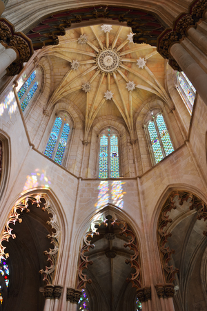 Batalha, Portugal - June 4, 2017: Interior of the Founders Chapel. Monastery of Batalha is a Dominican convent. Monastery of Saint Mary of the Victory Editorial