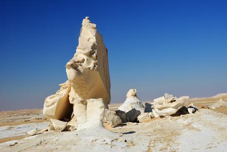The limestone formation in White Desert at sunset, Sahara, Egypt, Africa