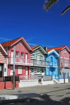 Costa Nova, Portugal -June 10, 2017: Famous resort on the Atlantic coast in Beira Litoral, Aveiro. Popular tourist destination to spend vacation time