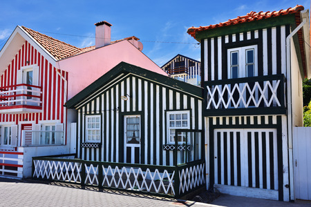 Costa Nova, Aveiro. Famous resort on the Atlantic coast in Beira Litoral, Portugal. Popular tourist destination to spend vacation time