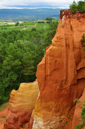 Red rocks around the village of Roussillon, Provence, France