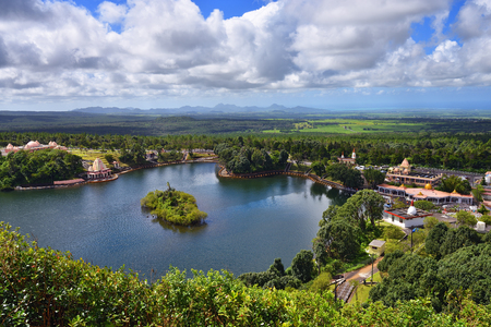 crater lake: View from above at Grand bassin lake, Mauritius. Grand Bassin is a sacred crater lake is one of the most important hindu pilgrimage sites outside of India