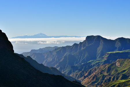 gran canaria: Beautiful Gran Canaria mountain landscape and view on Teide volcan on background. Canary island, Spain