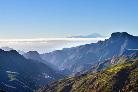 Beautiful Gran Canaria mountain landscape and view on Teide volcan on background. Canary island, Spain