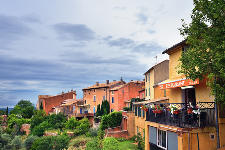 Roussillon, France - Jul 07, 2014: View on beautiful medieval village of Roussillon