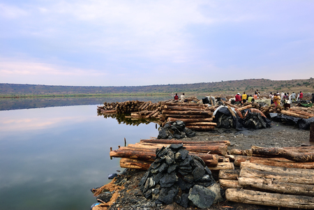 Katwe, Uganda - Aug 30, 2010: Katwe salt lake is a customary lake on which salt mining is done, formed many years long ago by volcanic eruption