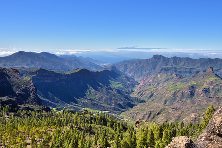 Beautiful Gran Canaria mountain landscape and view on Teide volcano on background. Canary island, Spain