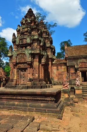 Banteay Srei or Banteay Srey is a 10th-century Cambodian temple dedicated to the Hindu god Shiva