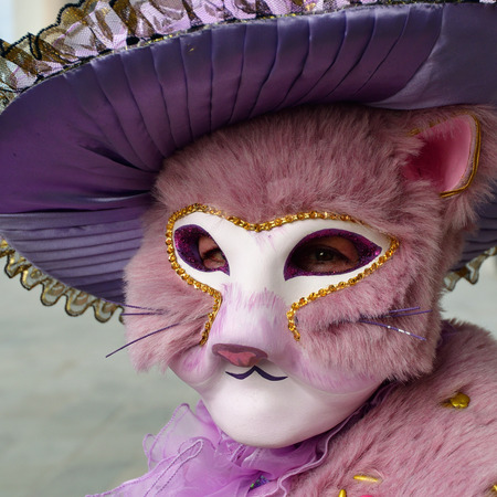 Venice, Italy - March 6, 2011: An unidentified participant in cat mask on St. Marks Square during the Carnival of Venice. The 2011 carnival was held from February 26th to March 8th