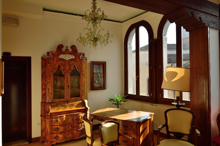 Venice, Italy - March 6, 2011: Interiors of the hotel Scandinavia. Dating back to the 11th century, this hotel lies close to the wonderful city centre of Venice. Hotel offers 33 bright and spacious rooms