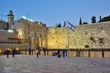 Jerusalem, Israel - March 29, 2015: Western Wall on the Temple Mount in the Old City of Jerusalem. Western Wall or Wailing Wall in Jerusalem is a major Jewish sacred place