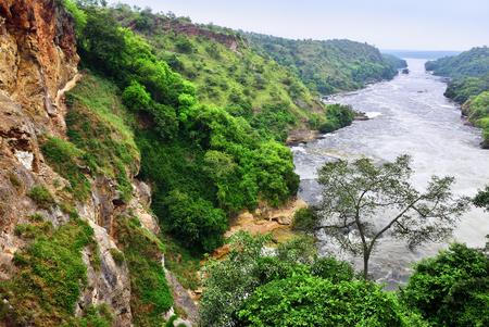 Mening over de Victoria Nile-rivier van de Murchison-waterval bij dageraad, noordelijk Oeganda, Afrika Stockfoto