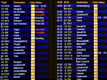 Flights scoreboard departures and arrivals. Airport board with destination information, cities, schedule  at Hong Kong Airport for passenger or traveler in Hong Kong International Airport Editorial