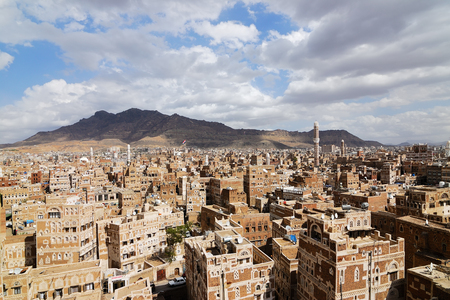 Old city of Sanaa the capital of Yemen. View on the city from roof 스톡 콘텐츠