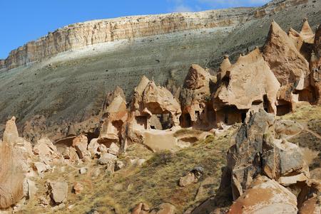 View of Cappadocia. Turkey. Ancient cave monastery of Zelve