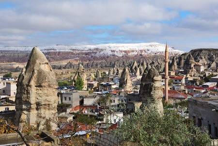 View on Goreme village, district of Nevsehir Province in the Central Anatolia Region of Turkey, Asia