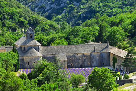 Provence.View from above on the ancient monastery Abbaye Notre-Dame de Senanque (Abbey of Senanque) at sunset time. Vaucluse, France Stock Photo