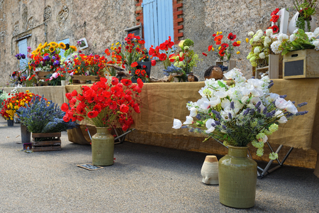 Beautiful bouquets of flowers for sale on the street of the small village Ferrassieres, Provence, France Stock Photo