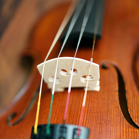 Violin in vintage style with shallow depth of field and selective focus on bridge of violin