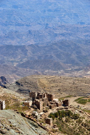 Is one of the finest examples of a medieval mountain village and rural fields around.  Mountain Yemen. View from above