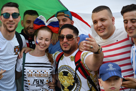 Moscow, Russia - June 23, 2018. World Cup 2018, football fans from different countries on the Nikolskaya streets of Moscow. FIFA world cup, Mundial 2018.