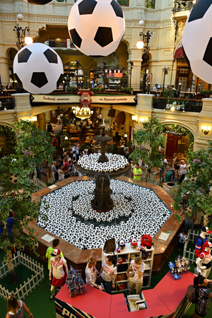 Moscow, Russia - June 26, 2018: Interiors of the famous Main Universal Store GUM Trading House during the FIFA World Cup, Mundial 2018 Редакционное